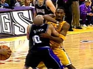 Kobe breaks Bibby's nose